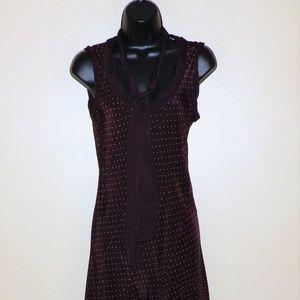 DKNY Burgundy Sleeveless Silk Dress